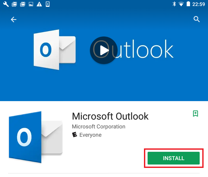 Screen shot of MS Outlook app on Google Play