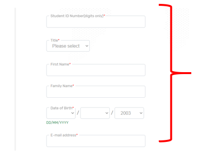 Screenshot of TransferMate Student Information Screen