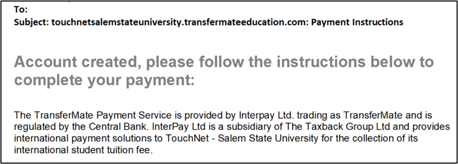Example of email sent from TransferMate